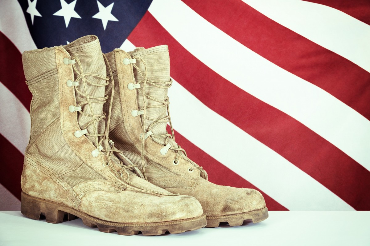 American Flag with Combat Boots
